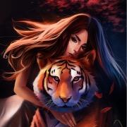 Девушка и тигр рисунок