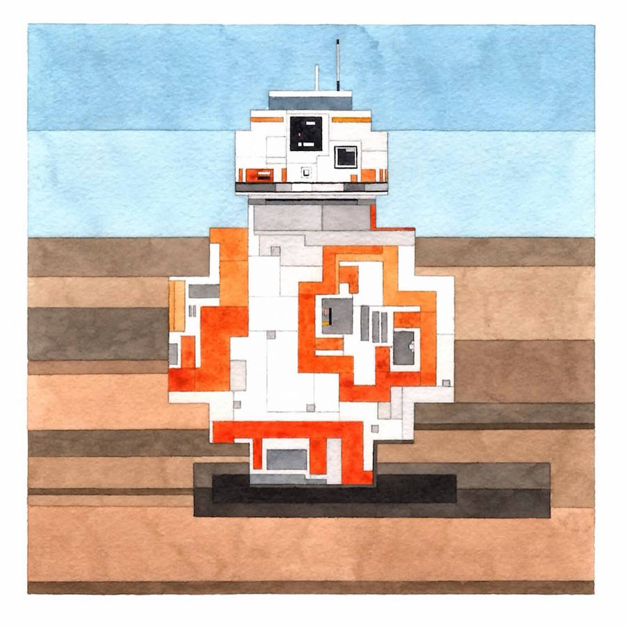 Watercolor 8 Bits Pop Culture Icons and Famous Paintings