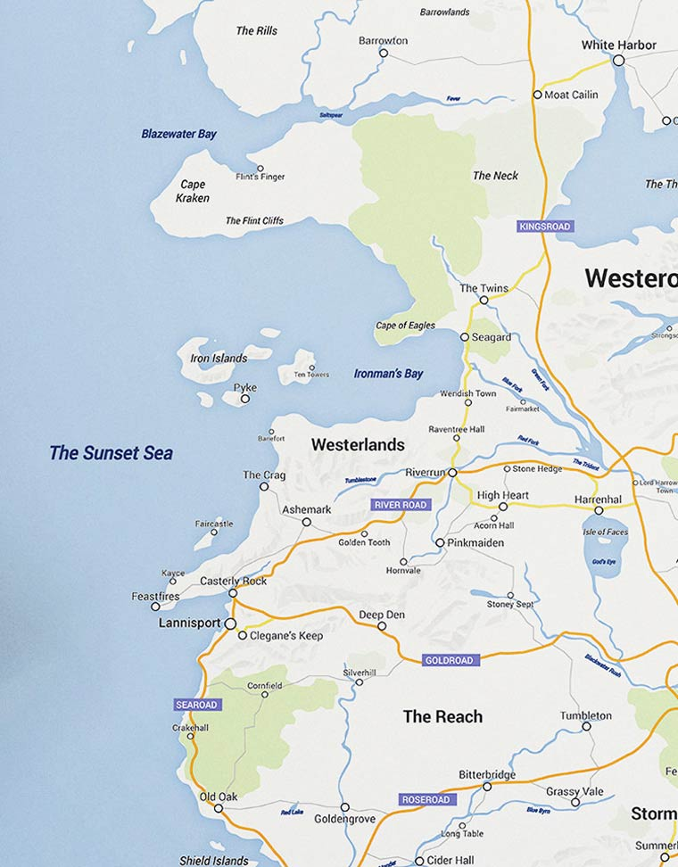 Game of Thrones - When the continent of Westeros meets Google Maps
