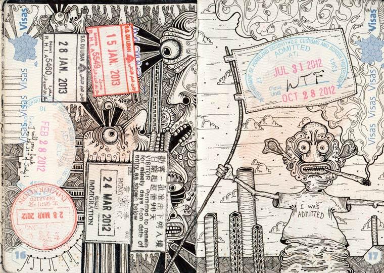 Passport Doodles - Quand l'artiste Leonard Combier s'amuse avec son passeport