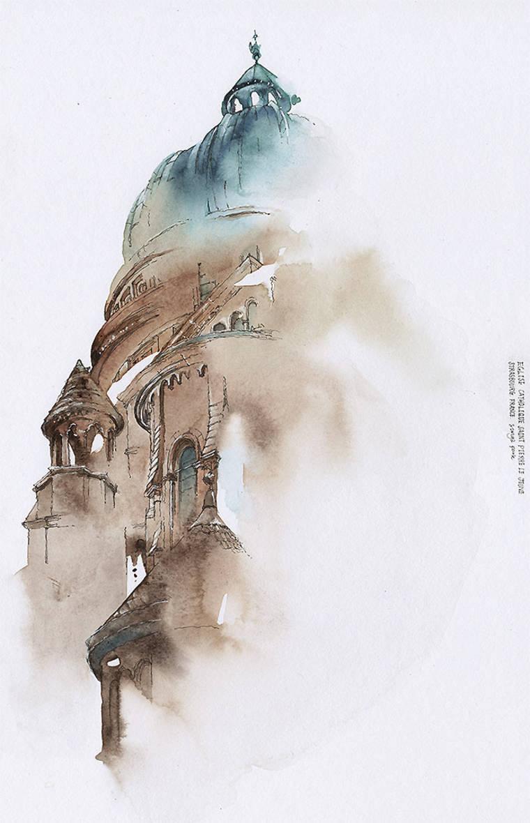 Les aquarelles vaporeuses de Sunga Park