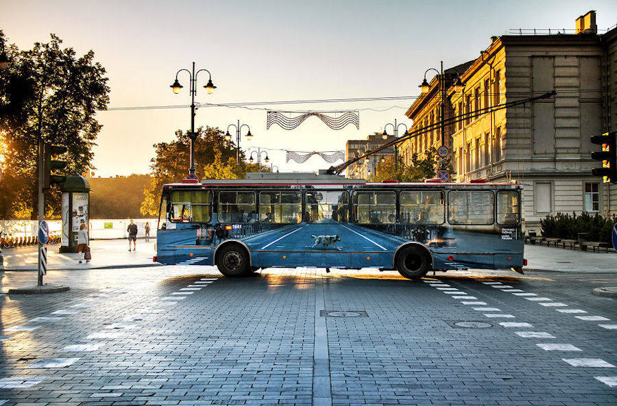 Optical Illusion on a Trolleybus in Vilnius