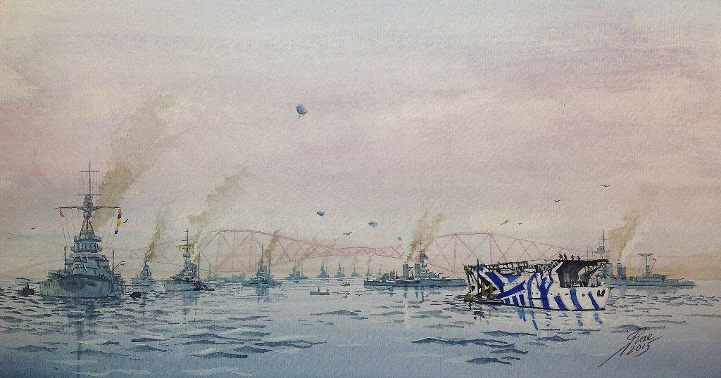HMS Argus and friends 'below the Bridge', late WW1.