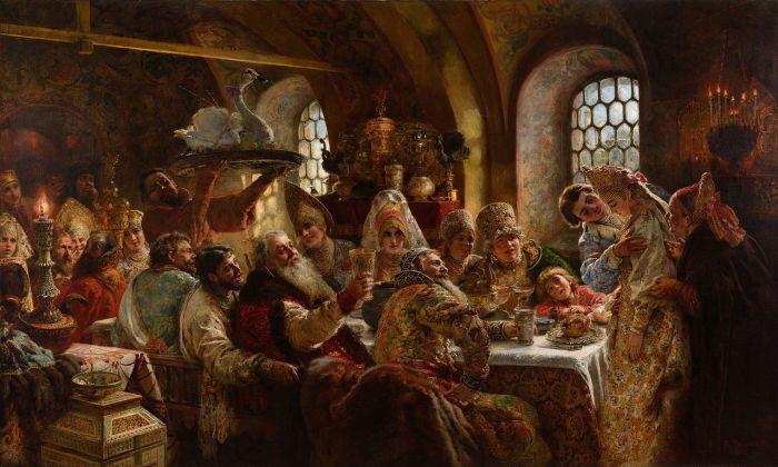 Боярский свадебный пир. Маковский К.Е., 1883 год.  Несколько десятков девушек, прошедших пре