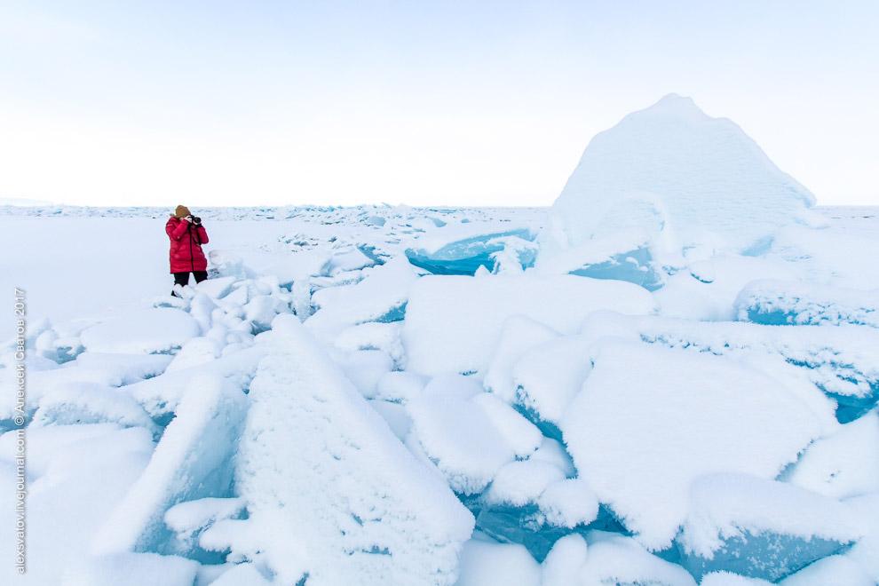 7. В сторону полуострова видна такая вот картина. Такой лёд — до самого берега. Сплошной торос.