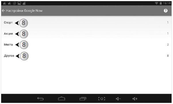Google Now предлагает четыре категории: Спорт, Акции, Места и Другое