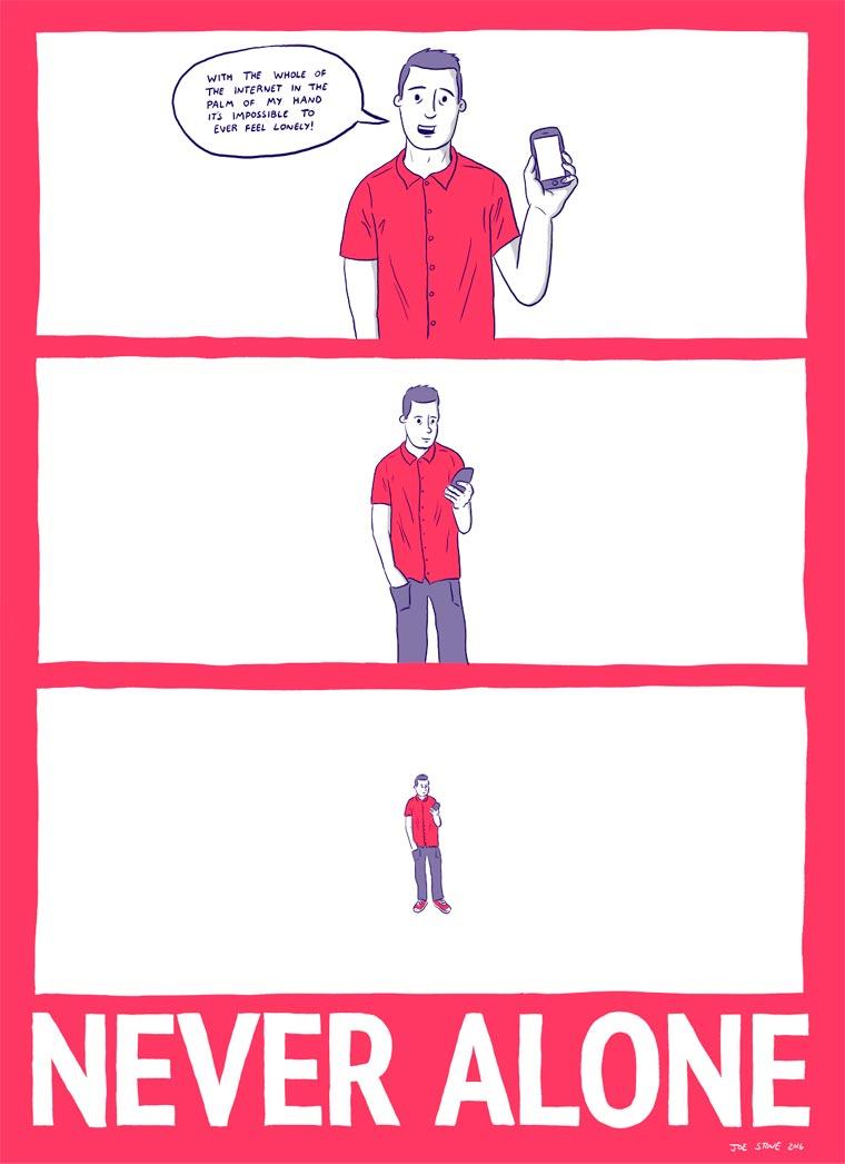 Never Alone - The bad habits of smartphone seen by illustrator Joe Stone