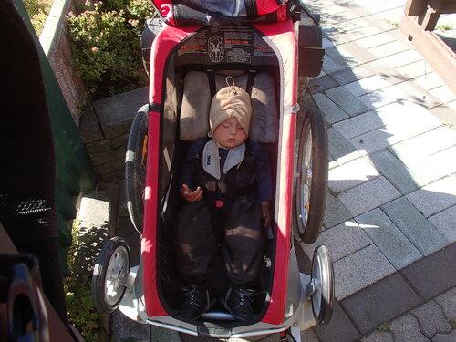 ребенок спит в велоприцепе Thule