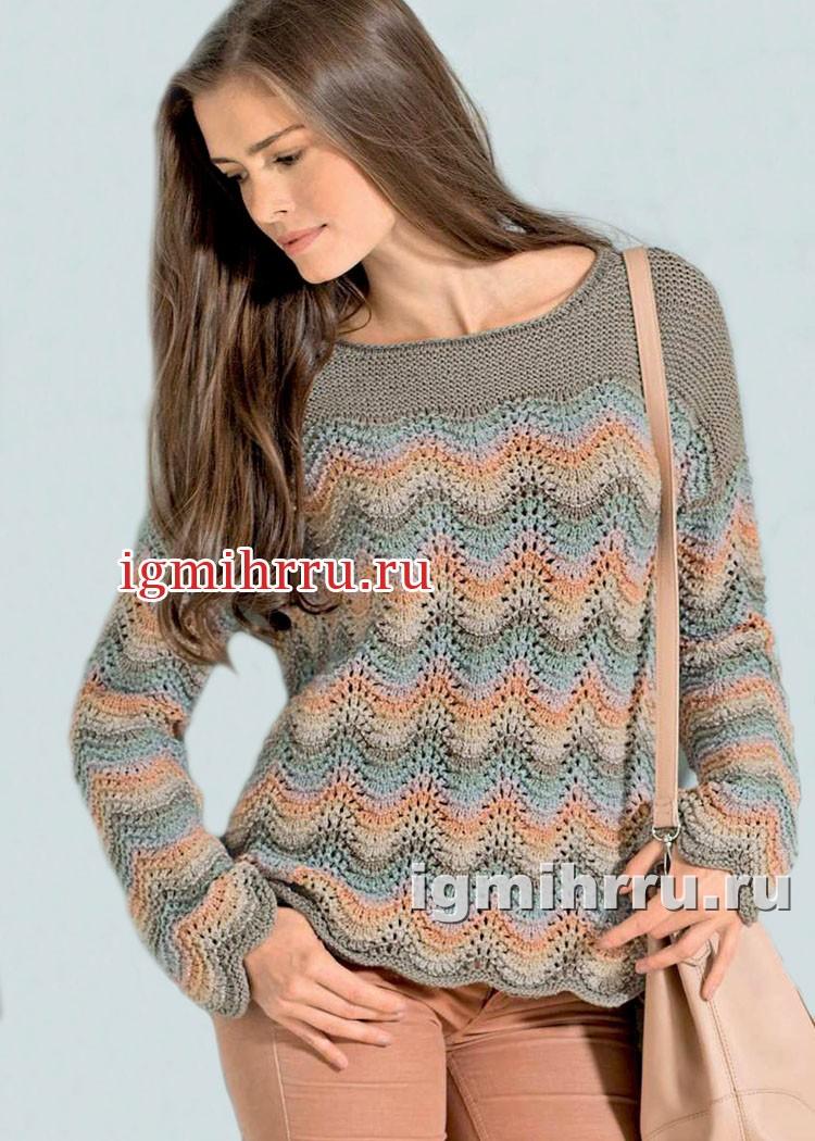 Пуловер пастельных оттенков, с волнистым узором. Вязание спицами
