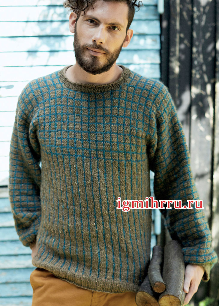 Мужской пуловер с вертикальными полосками и клетками. Вязание спицами