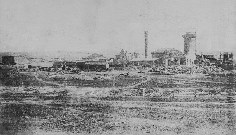 1872 Юзовка Общий вид завода Первая доменная печь.jpg