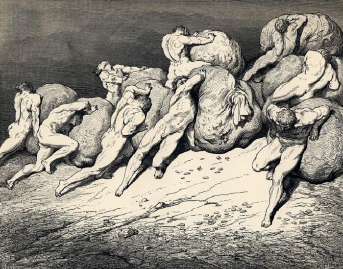 5-й круг — Гнев и Лень. В 5-й круг грешники попадают за лень и гневливость. Наказание: вечная драка