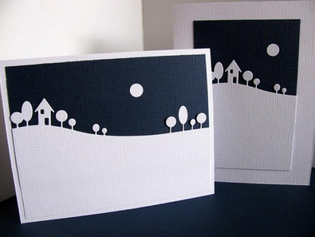 © etsy  Для этой открытки лучше использовать структурированный картон, аможно обойтись иобыч