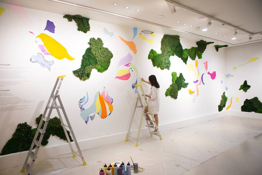 New Painted & Vegetal Mural by Sun Young Min
