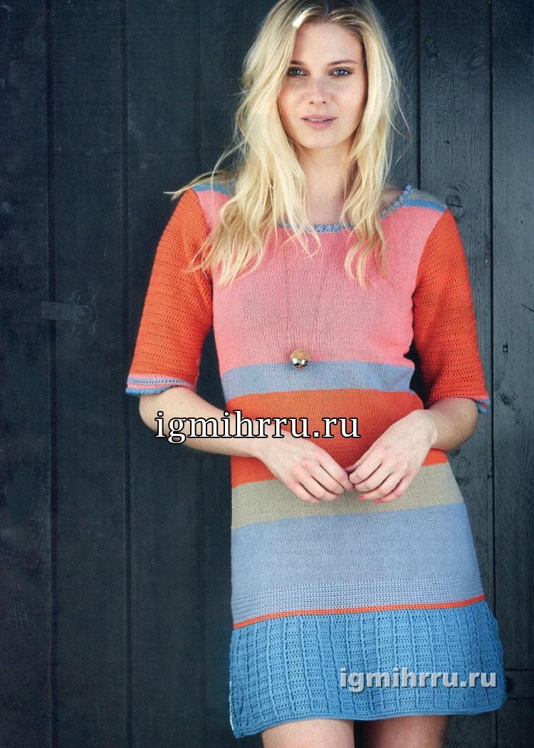 Разноцветное платье в полоску, с «плиссированной» оборкой. Вязание спицами и крючком