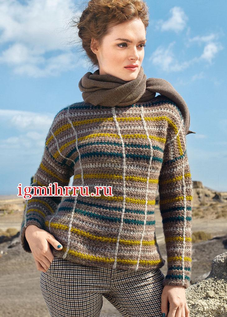 Шерстяной пуловер в горизонтальную и вертикальную полоску. Вязание крючком