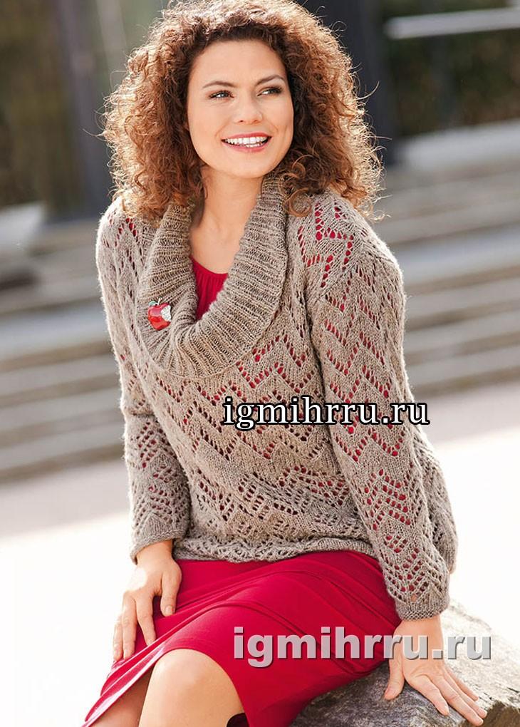 Для пышных дам. Ажурный пуловер с большим воротником. Вязание спицами
