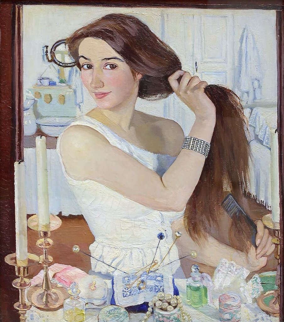 За туалетом (Автопортрет). 1909. 75 х 65 см. Москва, Третьяковская галерея.jpg