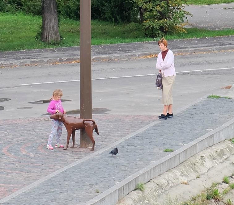 Вологда, девочка и собачка