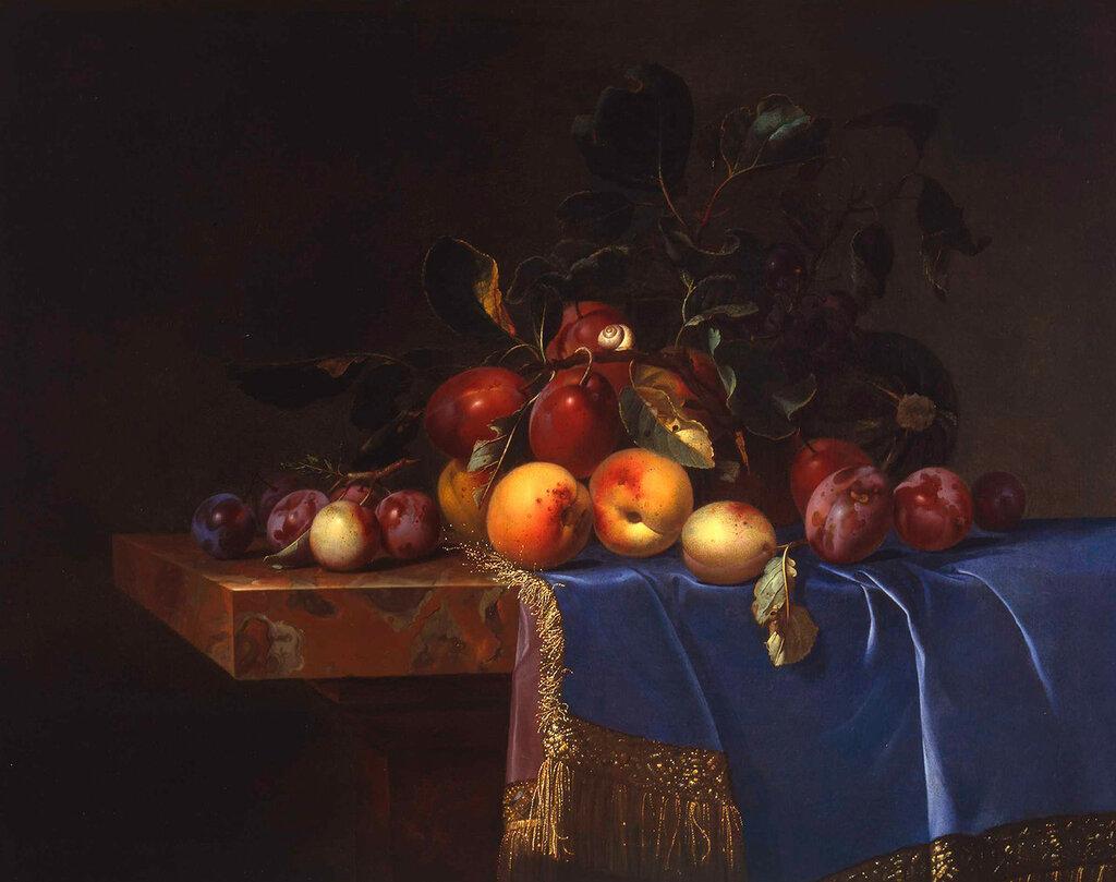 Сливы и персики на синем бархате (Музей Принсенхоф, Дельфт).jpg