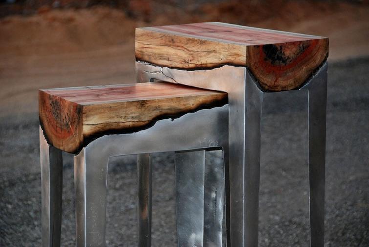 21. Столы из дерева и алюминия