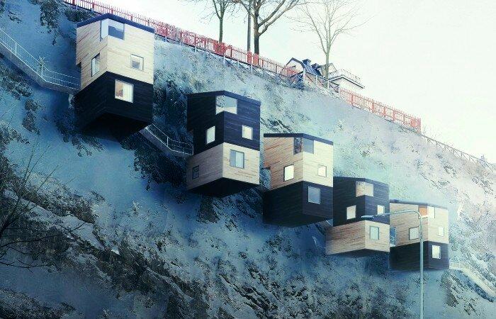 Дома построенные на скалах: смелая альтернатива дорогой недвижимости на земле