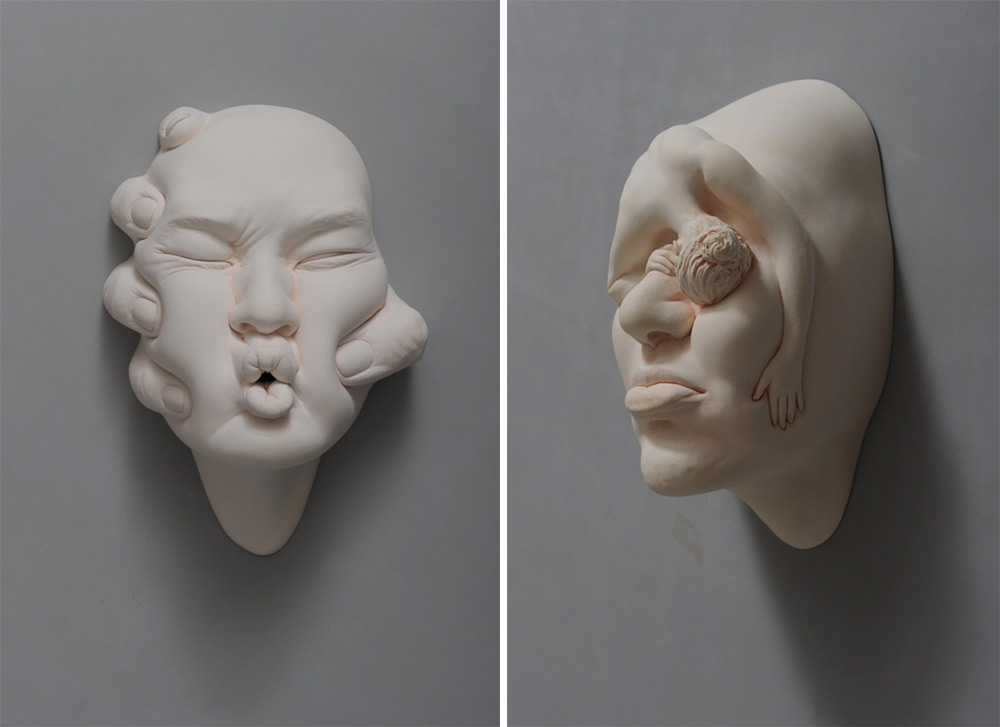 Stretched and Contorted Porcelain Face Sculptures by Johnson Tsang