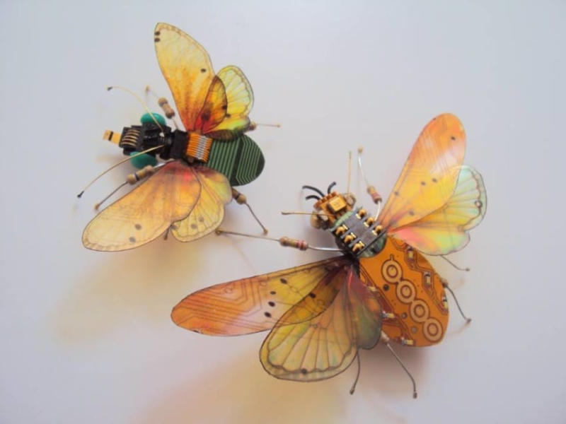 Chappell got the idea to turn electronic parts into insects a few years ago. She was at her l