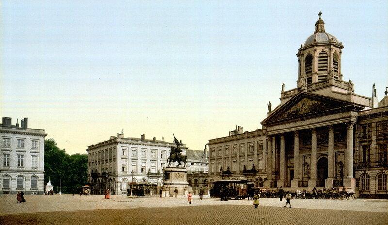 Королевская площадь и памятник Готфриду Бульонскому, конец XIX века