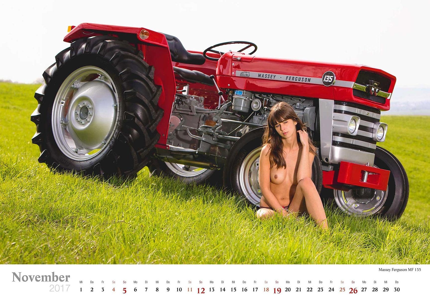 Девушки и трактора в эротическом календаре 2017 / Massey Ferguson MF 135 - Jungbauerntraume calendar 2017