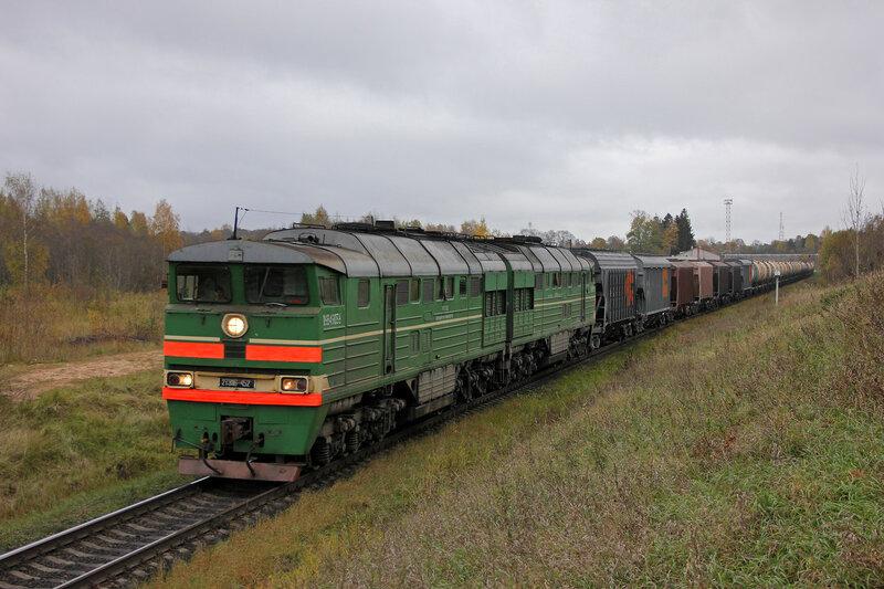 2ТЭ116-452 на перегоне Себеж - Гарнея, Рижское направление