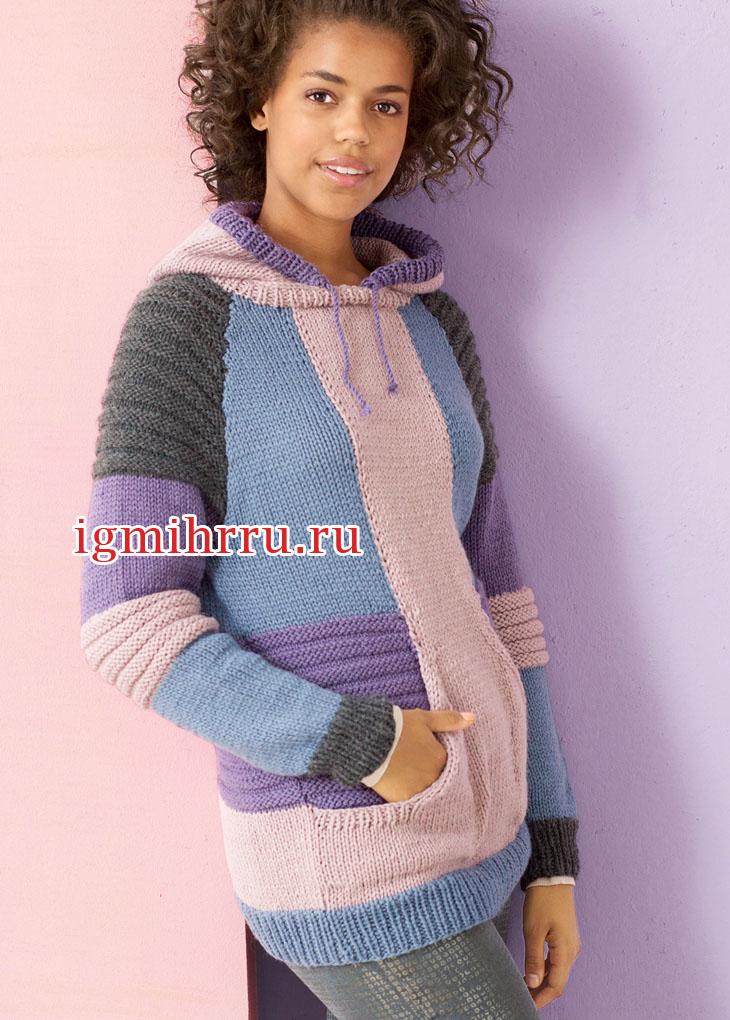 Теплый джемпер с капюшоном и карманами спереди. Вязание спицами
