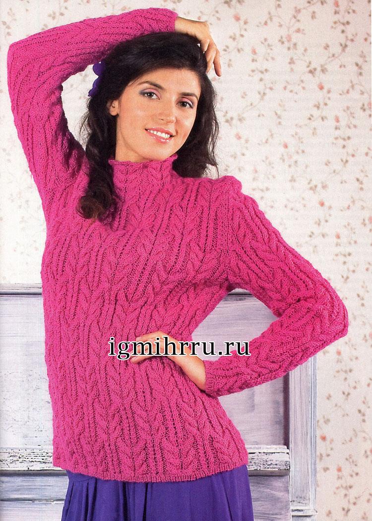 Ярко-розовый джемпер с фантазийными переплетениями. Вязание спицами