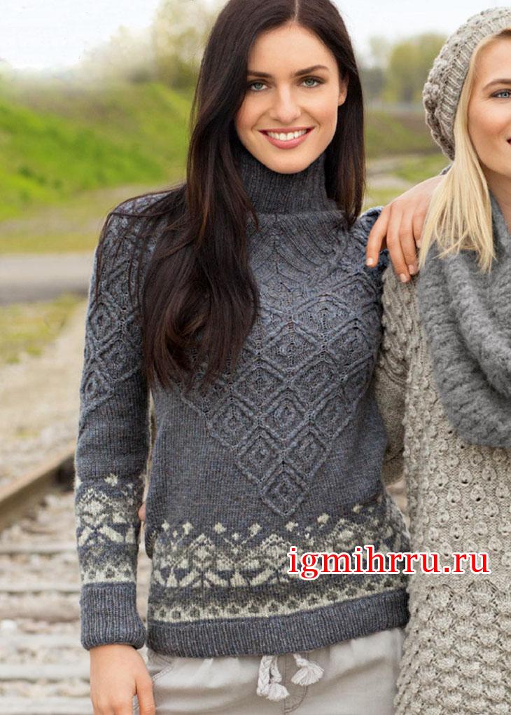Серый свитер с жаккардовыми бордюрами. Вязание спицами