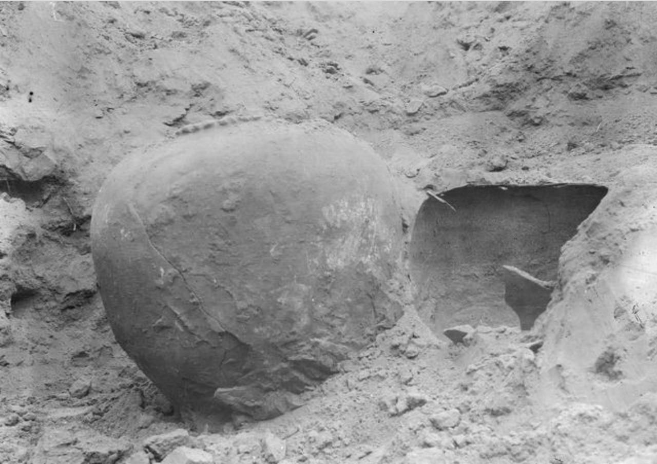 Турфан. Экспедиция Маннергейма обнаружила во время раскопок глиняный сосуд