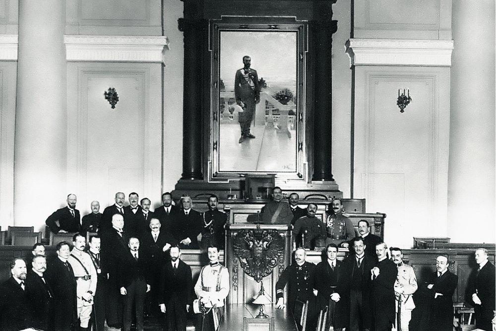 Участники Петроградской конференции в Таврическом дворце. Февраль 1917 года. Фото: РГАКФД