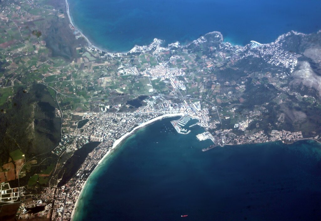 Majorca, the town of Port d'alcudia. Aerial view
