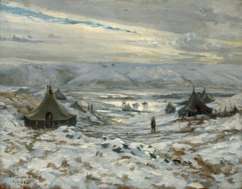 William F. Draper - Frozen Sunlight-Amchitka (1942) Beyond the tents which house Army personnel is the drained lake bottom where the construction of the fighter strip progresses the day to day.