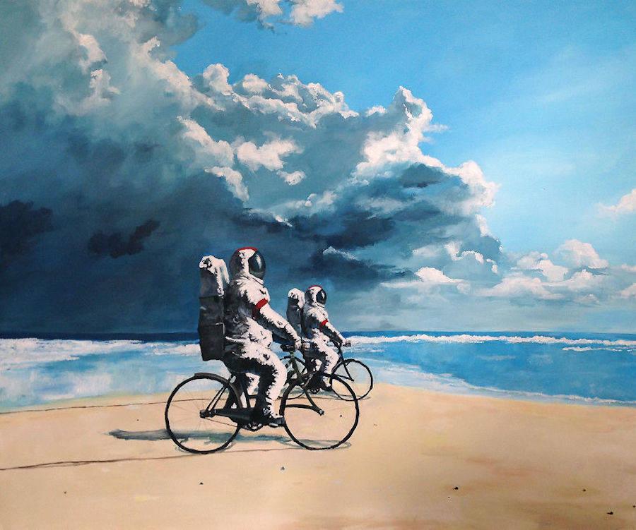Астронавты за городом на картинах Thomas Juul Krahn (15 фото)