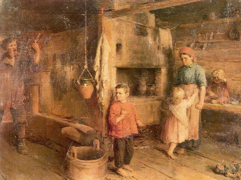 Владимир Маковский — «Не пущу!» (1892 год) А здесь отчаявшаяся супруга пытается всеми силами удержат