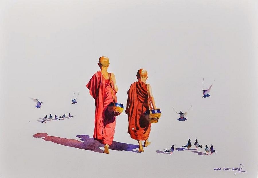 Акварель загадочная, как улыбка Будды. Художник Мьё Вин Онг