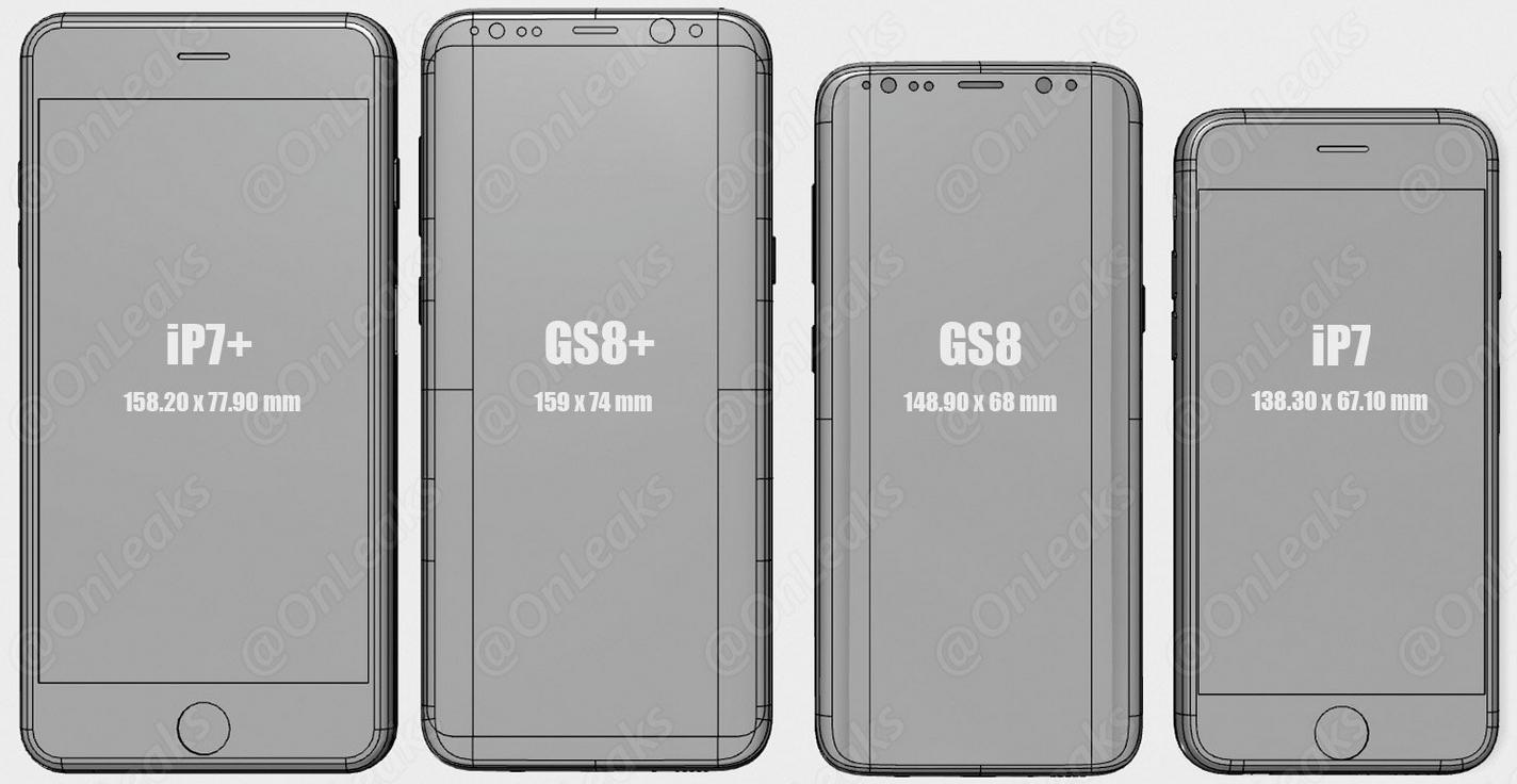 Наглядоне сравнение мобильные телефоны Galaxy S8 иiPhone 7 появилось вглобальной паутине