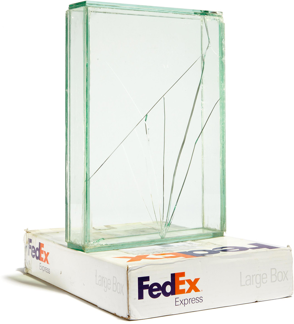 Artist Walead Beshty Shipped Glass Boxes Inside FedEx Boxes to Produce Shattered Sculptures (8 pics)