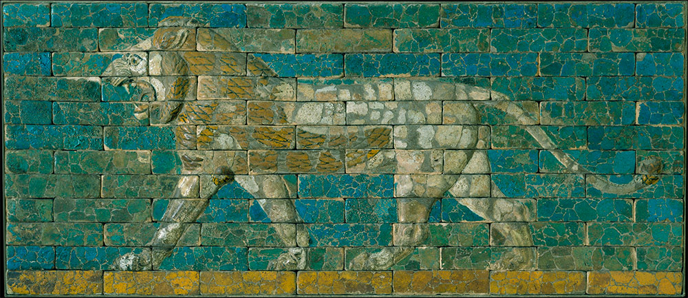 Panel with striding lion. Mesopotamia, Babylon (modern Hillah, Iraq) ca. 604–562 B.C. Ceramic, glaze