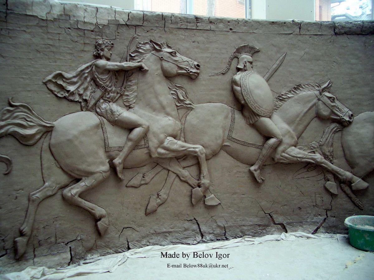 Горельеф с лошадьми. Скульптор Игорь Белов