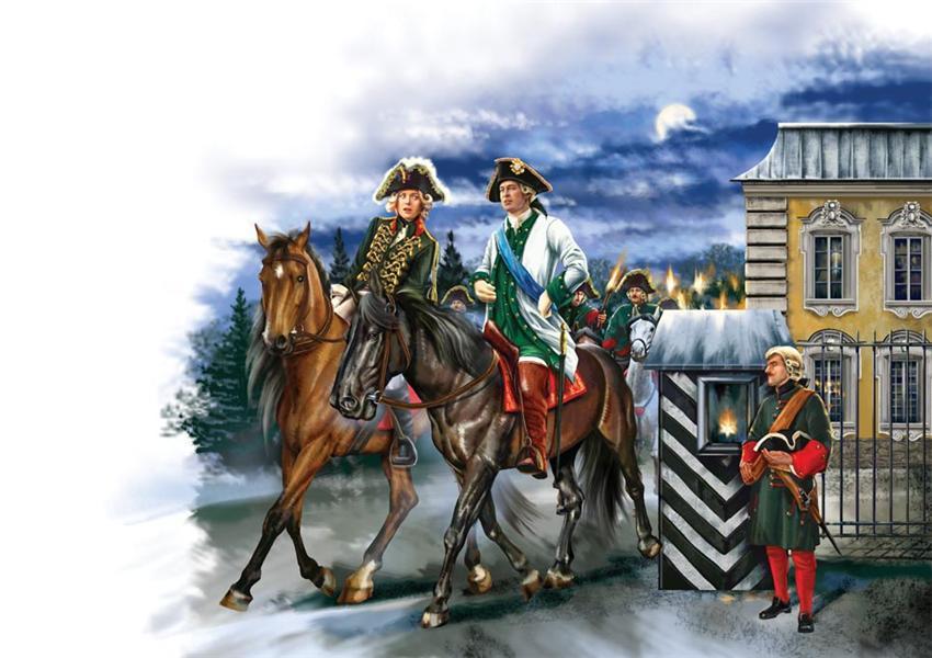 Екатерина II с Орловым тайно уезжает ночью из Петергофа в Петербург.jpg