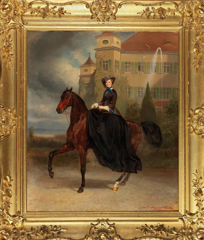 Carl Theodor von Piloty und Franz Adam(München 1826–1886 Ambach/ Starnberger See) und (Mailand 1815–1886 München) Kaiserin Elisabeth von Österreich als Braut zu Pferd in Possenhofen 1853
