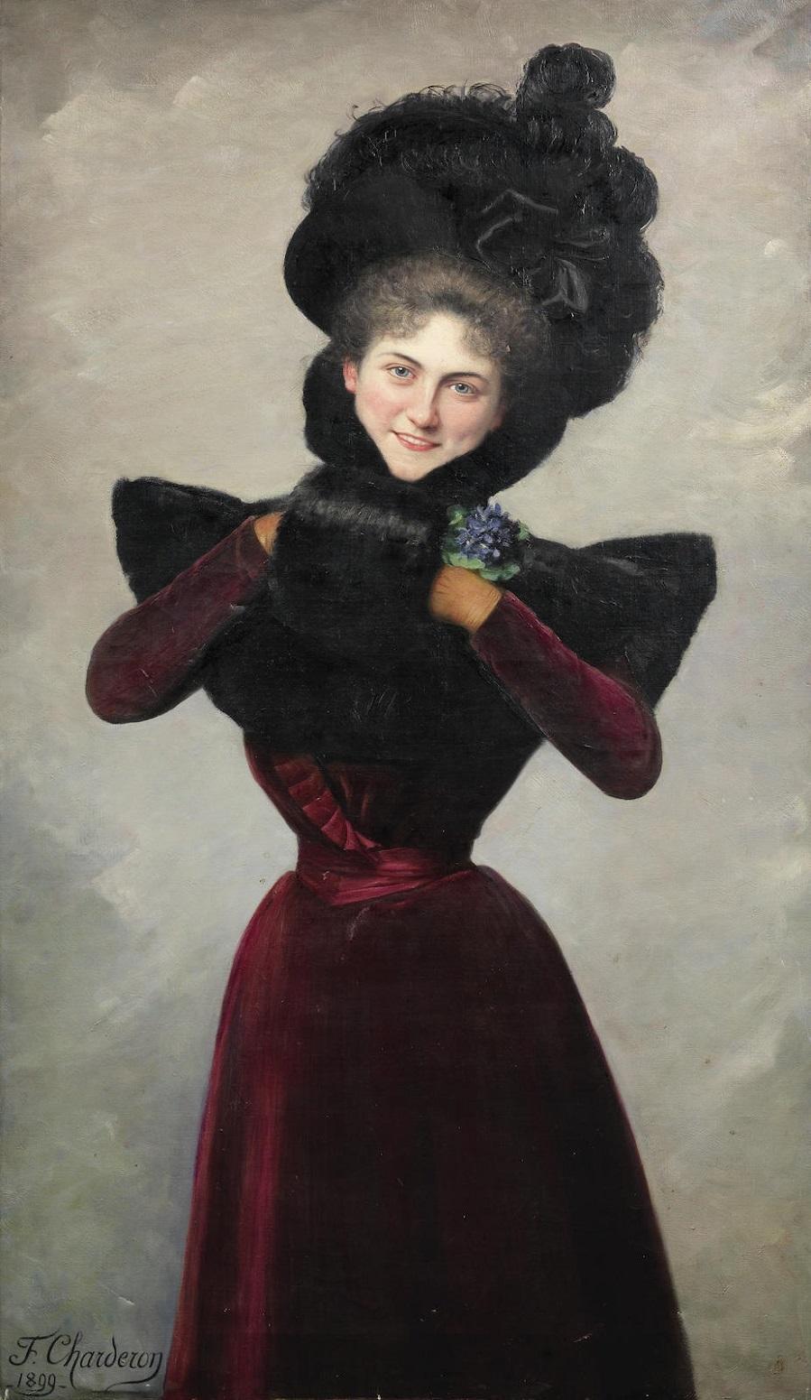 Femme élégante avec manchon de fourrure, 1899.Jpeg