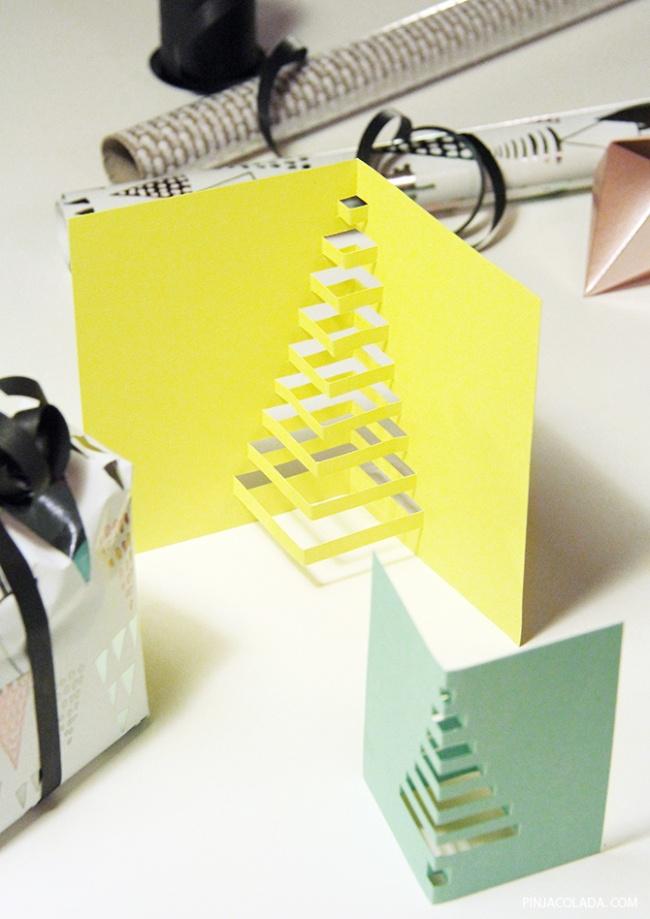 © pinjacolada  3D-елки делать еще быстрее. Вам понадобятся только линейка, острые ножницы ика