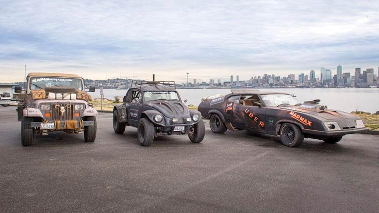 Uber VS. Mad Max - Drive through the city with crazy post-apocalyptic vehicles